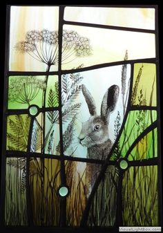 Wary hare Stained glass by Ann Sotheran, UK