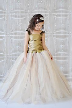 Vintage Champagne, Ivory, Gold tutu Flower Girl Dress, $215.00 | Studio Mirela >> Amazing, I would have loved to have worn this as a child, now too! :)