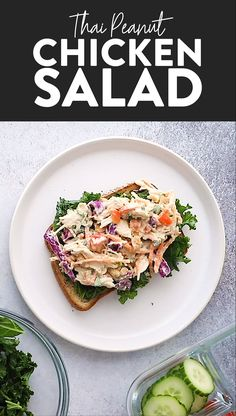 Put a healthy, creative twist on classic chicken salad by using this Greek yogurt and peanut butter base with tons of crunchy veggies. This Thai Peanut Chicken Salad recipe is great for meal prep lunches and snacks to enjoy throughout the week! Thai Peanut Chicken Salad Recipe, Chicken Salad Recipes, Healthy Salad Recipes, Diet Recipes, Salad Chicken, Easy Recipes, Pasta Salad, Greek Yogurt Chicken Salad, Chicken Snacks