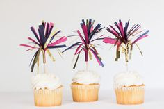 Tissue Tassel Cupcake Toppers    Hot Pink, Navy, and Shiny Gold    Set of 12 on Etsy, $10.00