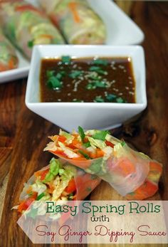 Easy Spring Roll Recipe with Soy Ginger Dipping Sauce. This would make a healthy appetizer recipe for your next party or a great meatless Monday recipe. Loads of fresh vegetables! #NaturallyFresh #sponsored