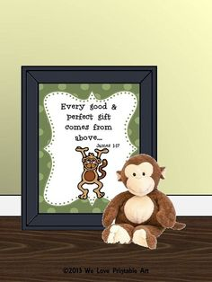 Monkeys Decor Bible Verse Sign Baby Nursery by WeLovePrintableArt Nursery Signs, Room Signs, Nursery Room, Bedroom, Bible Verse Signs, Bible Verses, Monkey Decorations, Printable Art, Printables