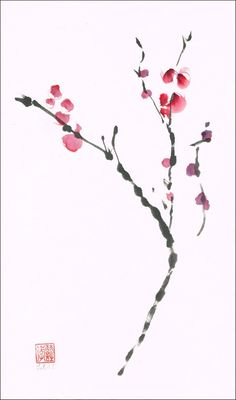 Sumi-e ink and watercolor  painting  Contemporary Japanese Zen Art