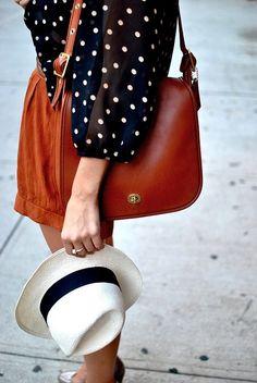 dots + cognac leather