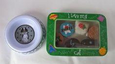 """I Love My Cat"" Treat Tin with Chocolate Bon-Bon Truffle Decrative Catnip Toys and Lovely Cat/Kitten Feed/Water Bowl  Order at http://www.amazon.com/dp/B007ILFZXG/?tag=pin-010-20"