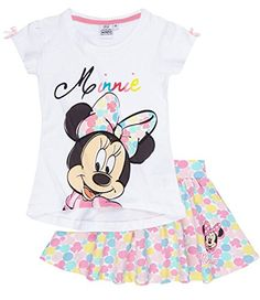 Disney Minnie Chicas Conjunto falda y camiseta - Blanco - 140 #camiseta #starwars #marvel #gift