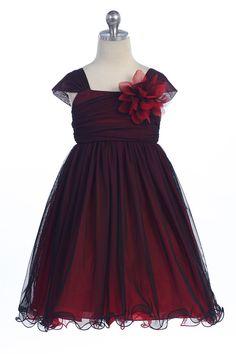 Red/Black Two Tone Soft Tulle Layered Flower Girl Dress with Short Sleeves - K298-RD K298-RD $46.95 on www.GirlsDressLine.Com