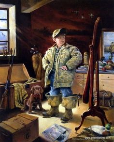 A young boy and his pup stand in Grandad's attic looking at all the antiques and trying on his old hunting gear, dreaming of what one day will be. This is an artist proof print and is available unfram