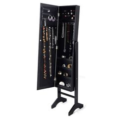 Mirrored Jewelry Cabinet Armoire W/Stand Mirror Storage Box Ring Organizer Black