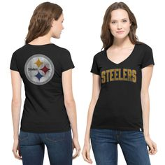 Women's Pittsburgh Steelers '47 Brand Black Flanker MVP V-Neck T-Shirt
