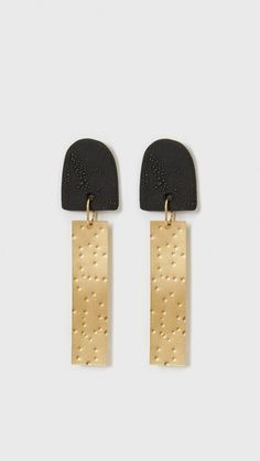Modern Weaving Dome Earrings in Black Porcelain | The Dreslyn