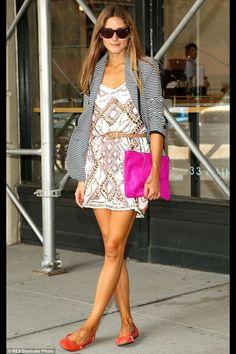 Olivia Palermo, mismatched, stripes, embellished, hot pink, flats, tanned