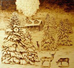 Wood-Burning Art Pyrography | Art - new england landscape art, and more.wood burned (pyrography) art ...