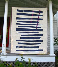 Anna Politzer made this wonderful large scale design called Big Birthday Improv Quilt. The graphic horizontal piecing, with the contrasting vertical lines, makes for a striking and eye catching qui...