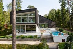 Modern house in Espoo Finland with a lakeside sauna via Classy Bro Amazing Architecture, Modern Architecture, Outdoor Sauna, Outdoor Decor, Duravit, House Goals, Home Fashion, Ideal Home, Interior And Exterior
