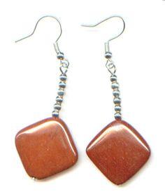 Ohrhänger aus rotem Jaspis - Naturstein - nickelfrei