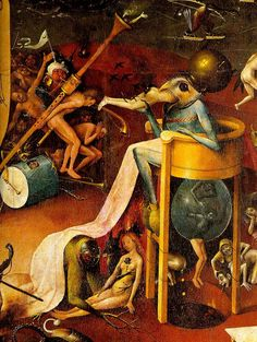 The Garden of Earthly Delights: Hell, right wing of triptych, detail of blue bird-man on a stool - Hieronymus Bosch (El Bosco) Jan Van Eyck, Hieronymus Bosch Paintings, Renaissance, Arte Tribal, Garden Of Earthly Delights, Dutch Painters, Medieval Art, Oeuvre D'art, Les Oeuvres