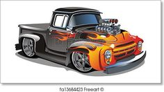 Cartoon retro hot rod isolated on white background. Available vector format separated by groups and layers for easy edit. Free art print of Cartoon retro hot rod. Hot Wheels, Rat Fink, Hot Rod Trucks, Old Trucks, Vintage Trucks, Chevy Trucks, Pickup Trucks, Weird Cars, Cool Cars
