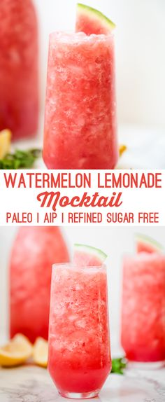 Watermelon Lemonade Mocktail, Food And Drinks, Watermelon Lemonade Mocktail (Paleo, AIP, Refined Sugar Free). Paleo Smoothie Recipes, Paleo Recipes, Drink Recipes, Cocktail Recipes, Paleo Dessert, Yummy Drinks, Healthy Drinks, Mocktail Drinks, Kids Mocktails