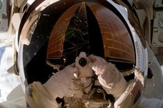 February 4, 2007 – Spacewalker Sunita Williams snaps a selfie while working outside the International Space Station. (NASA)