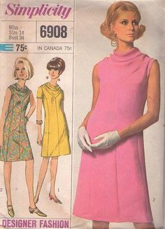 MOMSPatterns Vintage Sewing Patterns - Simplicity 6908 Vintage 60's Sewing Pattern GORGEOUS Mod Designer Fashion Inset Draped Cowl Neck Princess Seams A-Line SPACE AGE Party Dress, 2 Styles