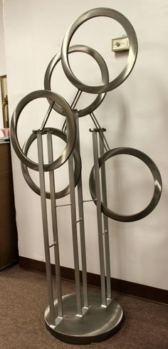 Vintage Very Large Brewitz Kinetic Aluminum Floor Sculpture | From a unique collection of antique and modern sculptures at https://www.1stdibs.com/furniture/decorative-objects/sculptures/