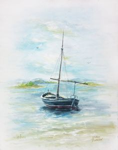A Day for Sailing by David Jansen Family Painting, Boat Painting, Gouache Painting, Watercolor Paintings, Watercolor Fish, Watercolor Pictures, Watercolor Landscape, Watercolor Ideas, Painting Techniques