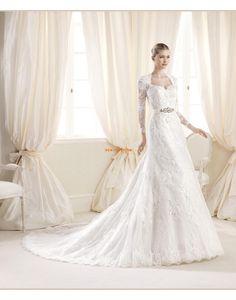 Áčkový střih Krajka Přírodní Svatební šaty 2014