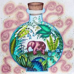 """My elephant in a bottle. I was going for a """"genie in a bottle"""" theme, but the gold sparkle isn't translating well in the photo. Jungle Coloring Pages, Colouring Pages, Adult Coloring Pages, Coloring Books, Magical Jungle Johanna Basford, Colored Pencil Tutorial, Color Magic, Color Pencil Art, Colorful Drawings"""