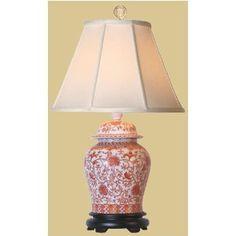 Asian Accent 29 Fine Chinese Porcelain Ginger Jar White Orange Fl Oriental