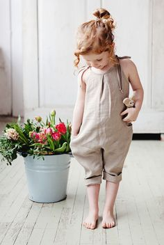Cute,comfortable,handmade natural linen romper dress for kids. Makes kids for comfortable movements. #cute #dress #comfortable #kids #kidsfashion