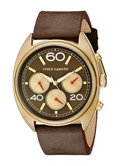 Men's Wrist Watches - Vince Camuto Mens VC1053RDGP The Transporter MultiFunction Dial Chocolate Brown Leather Strap Watch *** Be sure to check out this awesome product.