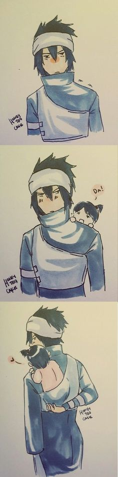 Sasuke's new outfit with baby carrier at his back :) ~ Cute Sarada :)