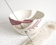 Handmade Ceramic Yarn Bowl, Knitting Bowl, Fresh White POTTERY | BlueRoomPottery - Ceramics & Pottery on ArtFire