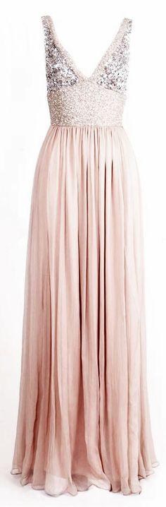 Long Blush Pink Sress W/ Sparkly V-neck Top.