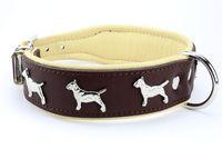 Collier BULL TERRIER marron/écru 29€ http://www.hopdog.fr/colliers-pour-chiens-gros-et-molosses/collier-bull-terrier-en-cuir-marron,fr,4,CMBT3.cfm