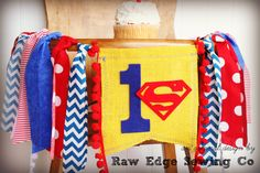 SUPERMAN Birthday High Chair Highchair Banner by RawEdgeSewingCo