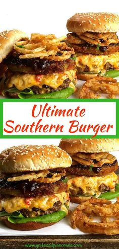 The Ultimate Southern Style Burger offers a unique twist to a classic burger and features melted pimento cheese, fried green tomatoes, onion rings, and tomato jam. This easy decadent and delicious hamburger recipe is the answer to your burger dreams!  via @gritspinecones