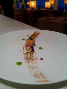 Smoke salmon cream frhice w/ avugra caviar #amuse
