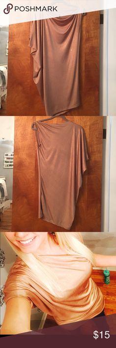One shoulder shimmer gold dress size M Party dress worn once. Like new! Super soft and comfy. 94% polyester 6% spandex Love Culture Dresses One Shoulder