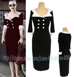 Vintage Rockabilly Celebrity High Waist Contrast Shift Stretch Bodycon Dress 4Xl