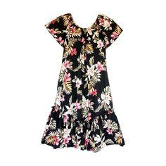 Kopikala Black Short Hawaiian Ruffle Muumuu Dress   #sexyhawaiiandresses #sundress #maxidress #floraldress #hawaiianweddingdress #hawaiiandresses #hawaiiandress