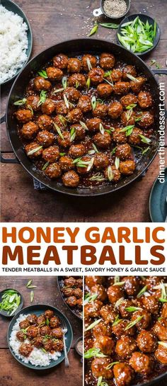 Honey Garlic Meatballs are easy, tender, and coated in a sweet, savory, sticky sauce made with honey, garlic, ketchup, and soy sauce. Perfect as an appetizer or over rice as a main dish! Garlic Meatball Recipe, Meatball Sauce, Meatball Recipes, Meat Recipes, Asian Recipes, Cooking Recipes, Delicious Recipes, Top Recipes