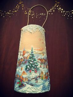 Christmas Decoupage, Christmas Crafts, Christmas Decorations, Santa Paintings, Bottle Crafts, Pillar Candles, Upcycle, Chic, Handmade