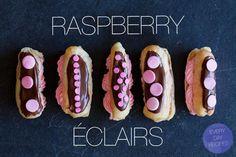 Raspberry Eclairs via Spoon Fork Bacon Yummy Treats, Sweet Treats, Yummy Food, Mini Desserts, Just Desserts, Raspberry Chocolate, Spoon Fork Bacon, Summer Salads With Fruit, Sweets