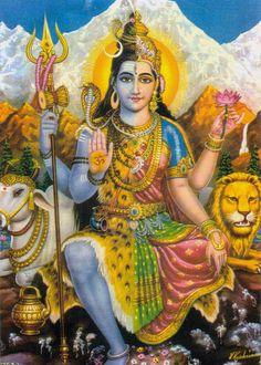 The United Form of The Supreme Lord & Supreme Mother Goddess.Proofing the equality of Shiva & Shakti Shiva Shakti, Shiva Parvati Images, Shiva Art, Hindu Art, Krishna Art, Om Namah Shivaya, Lord Hanuman Wallpapers, Lord Shiva Hd Images, Ganesh Images