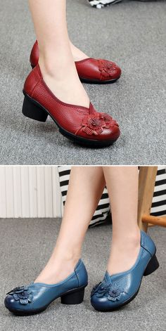 US$25.76 Socofy Leather Mid Heel Vintage Handmade Flower Original Soft Shoes