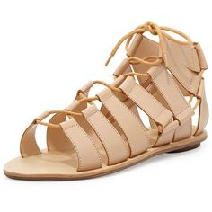 Loeffler Randall Skye Leather Flat Gladiator Sandal (310 CAD) ❤ liked on Polyvore featuring shoes, sandals, flats, black, black leather flats, black leather sandals, black flat sandals, lace up flats and flat gladiator sandals