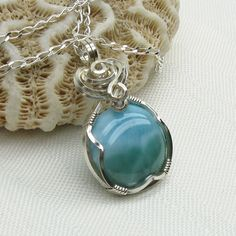 I want this!  Larimar Necklace - Wire Wrapped. $55.00, via Etsy.