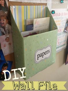 Great, inexpensive way to organize- DIY Wall Files with Printable Labels. Via Salt and Pepper Moms; Spray paint, don't wrap